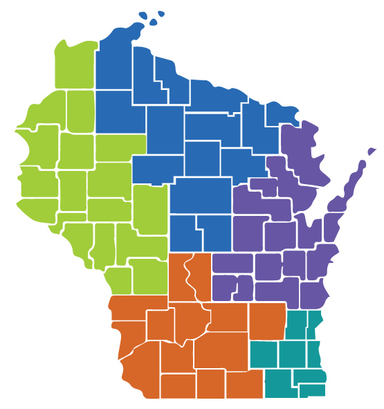 Map of WI Regional Centers