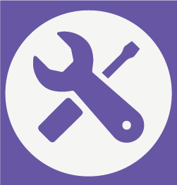 Purple tools and purple background graphic